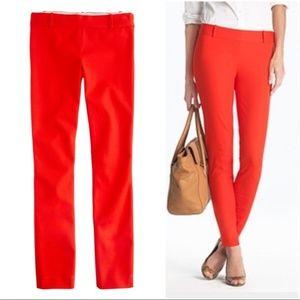 J. Crew Minnie red orange stretch twill ankle pant